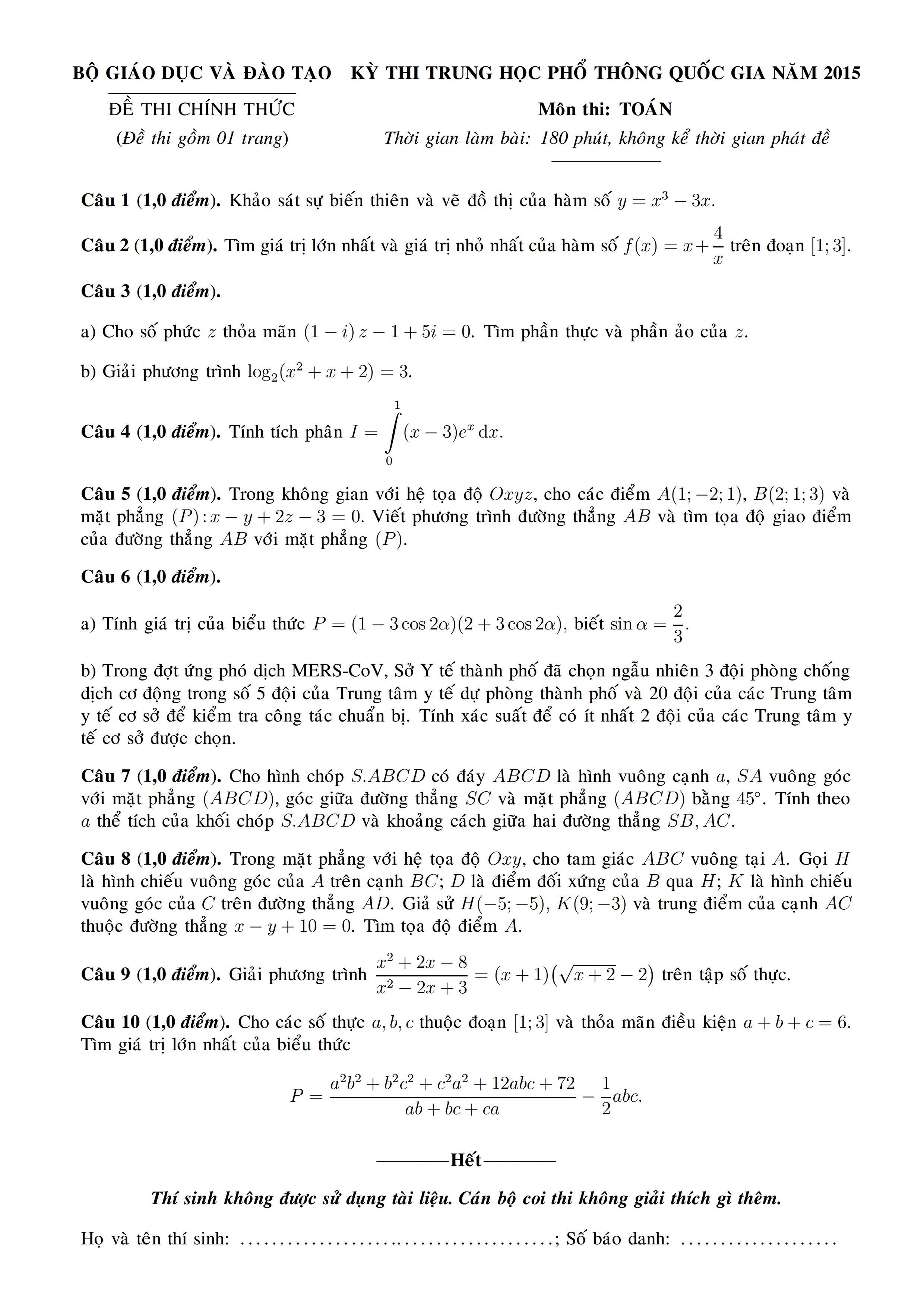 đề thi toán đại học 2015