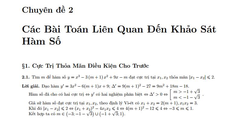 Các bài toán liên quan đến khảo sát hàm số có lời giải