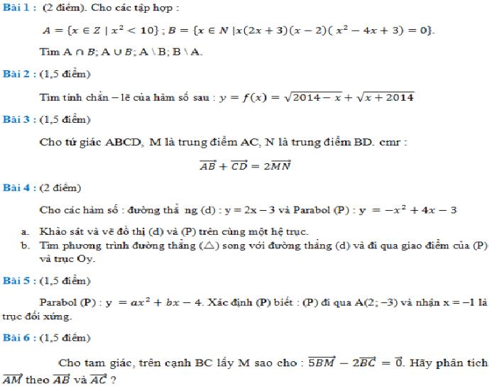 Đề kiểm tra môn toán lớp 10 giữa học kì 1