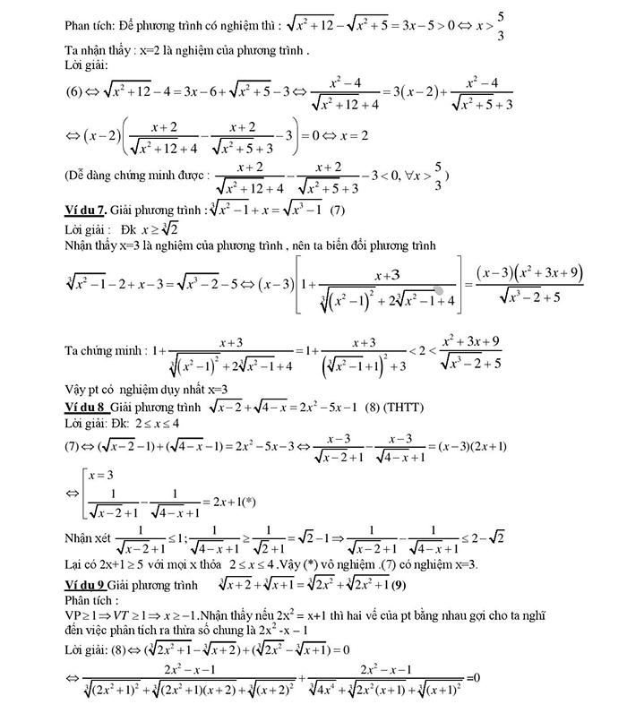Giải phương trình vô tỷ chứa căn thức bằng phương pháp liên hợp-2