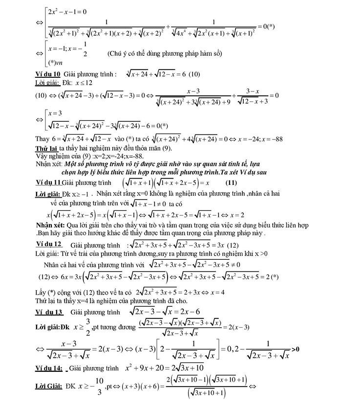 Giải phương trình vô tỷ chứa căn thức bằng phương pháp liên hợp-3