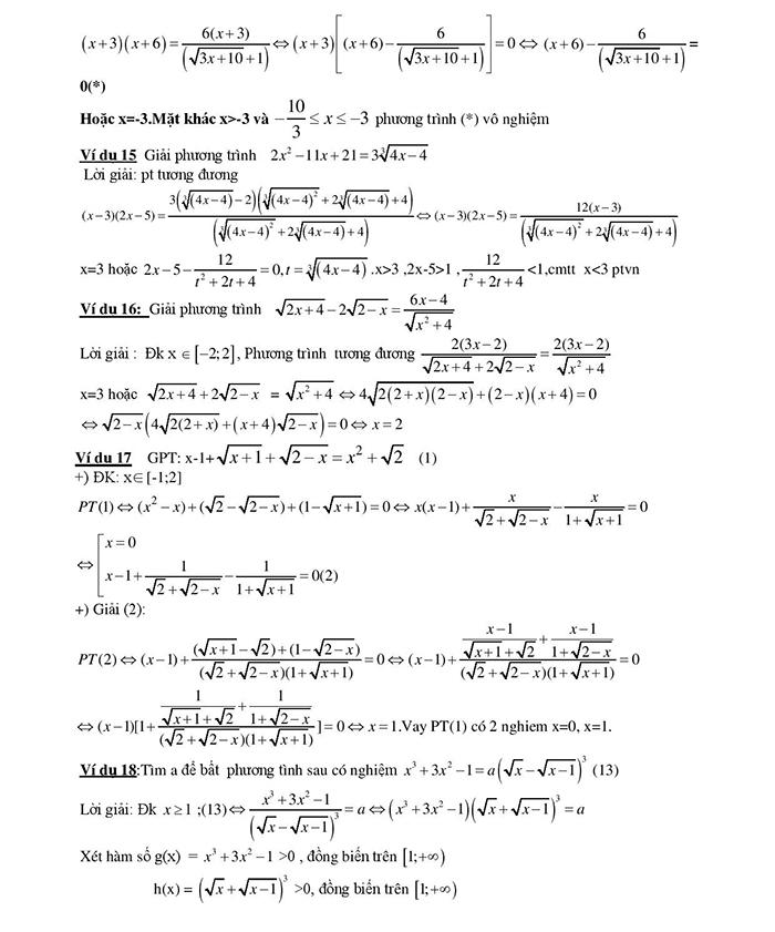 Giải phương trình vô tỷ chứa căn thức bằng phương pháp liên hợp-4