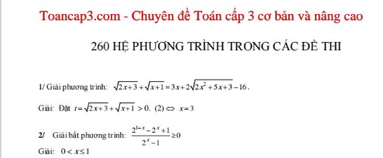 Tổng hợp 260 hệ phương trình trong các đề thi có lời giải
