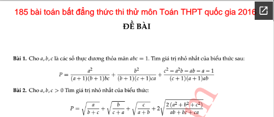 185 bài toán bất đẳng thức thi thử môn Toán THPT quốc gia 2016