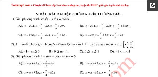 50 câu hỏi trắc nghiệm phương trình lượng giác