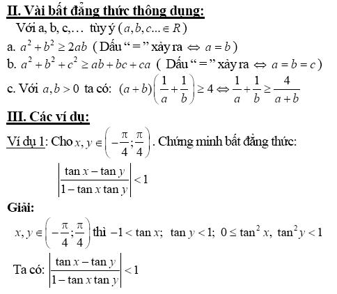 Chứng minh bất đẳng thức bằng phương pháp biến đổi tương đương-1
