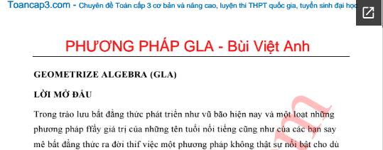 Chứng minh bất đẳng thức bằng phương pháp GLA - Bùi Việt Anh