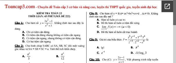 Đề kiểm tra trắc nghiệm Toán 12 (45 phút) mã đề 222