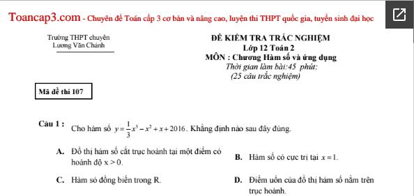 Đề trắc nghiệm Toán THPT chuyên Lương Văn Chánh mã 107