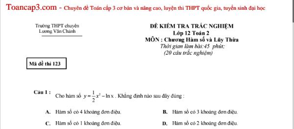 Đề trắc nghiệm Toán THPT chuyên Lương Văn Chánh mã 123