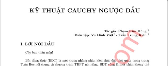 Kỹ thuật bất đẳng thức Cauchy (Cosi) ngược dấu