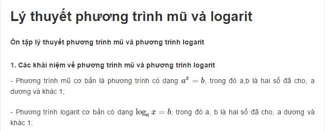 Lý thuyết phương trình mũ và logarit