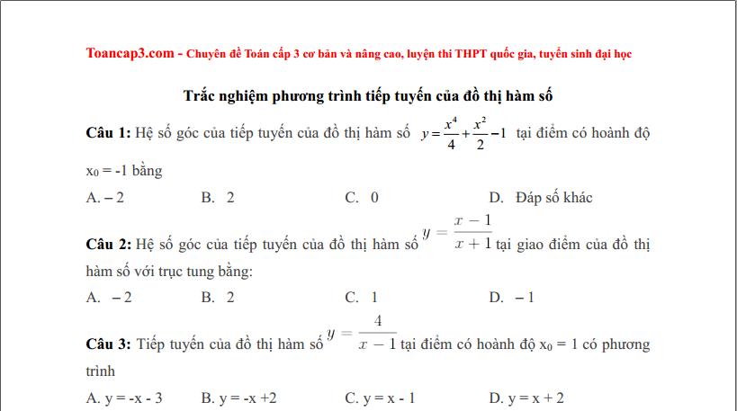 24 câu trắc nghiệm bài toán liên quan tới tiếp tuyến
