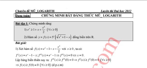 Dạng toán Chứng minh bất đẳng thức mũ logarit