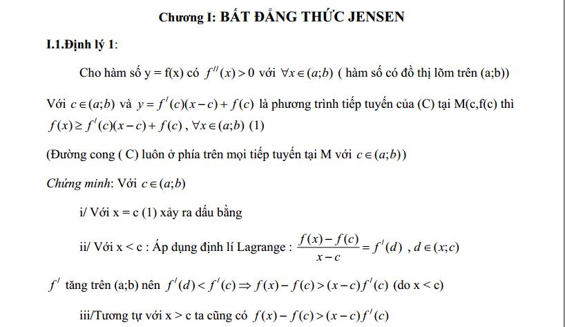 Một số bất đẳng thức nâng cao - THPT chuyên Tiền Giang