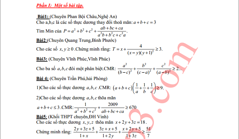 Tuyển tập bất đẳng thức thi lớp chuyên toán 2009-2010