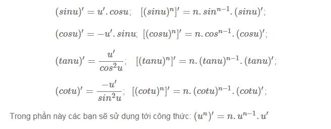 Cách tìm đạo hàm của hàm số hợp lượng giác-1