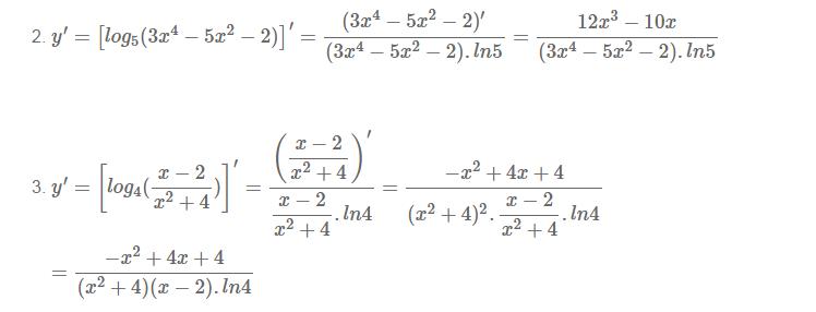 Cách tính đạo hàm của hàm số logarit-2