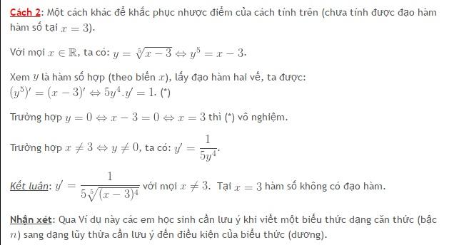 Sai lầm thường gặp khi tính đạo hàm của hàm số căn bậc n-2