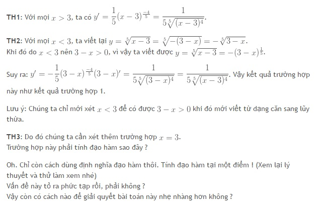 Sai lầm thường gặp khi tính đạo hàm của hàm số căn bậc n-1