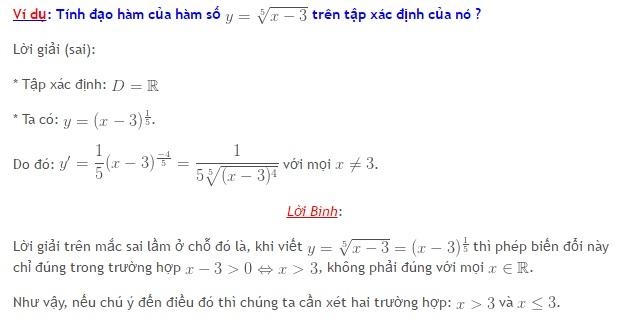 Sai lầm thường gặp khi tính đạo hàm của hàm số căn bậc n