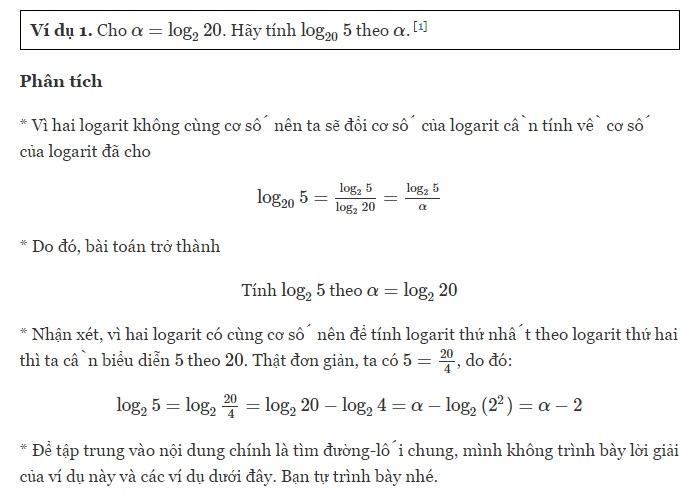Tổng hợp cách tính logarit của một số bất kỳ