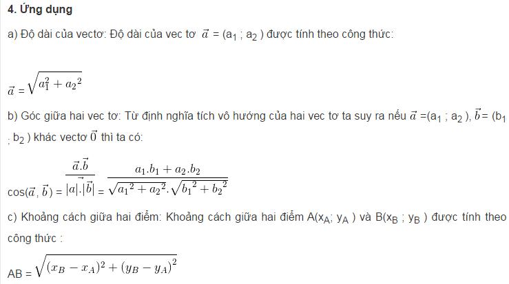 Lý thuyết tích vô hướng của hai vectơ-1