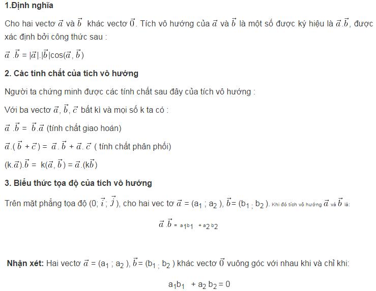 Lý thuyết tích vô hướng của hai vectơ