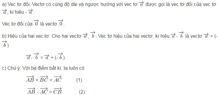 Lý thuyết tổng và hiệu của hai vectơ-3