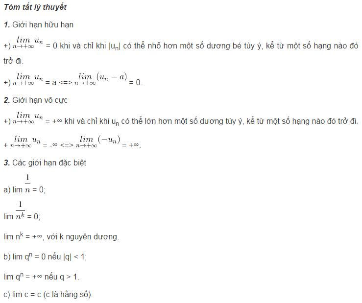 Lý thuyết về giới hạn của dãy số