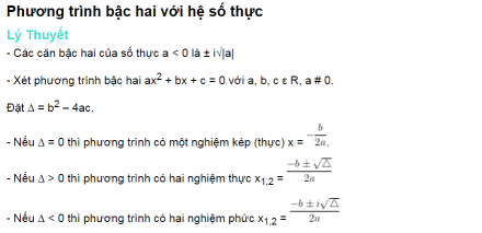 Phương trình bậc hai với hệ số thực
