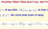 Phương trình tổng quát của mặt phẳng