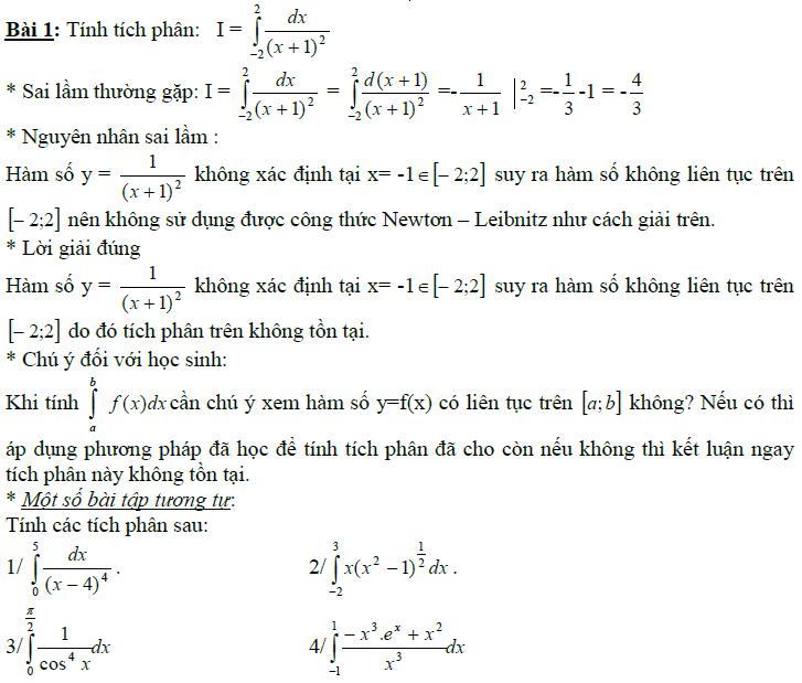 Sai lầm khi giải toán nguyên hàm và tích phân-12