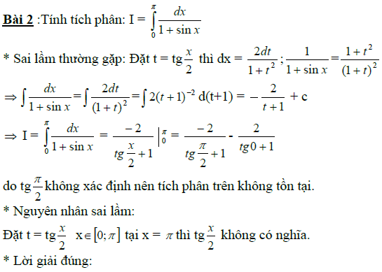 Sai lầm khi giải toán nguyên hàm và tích phân-13