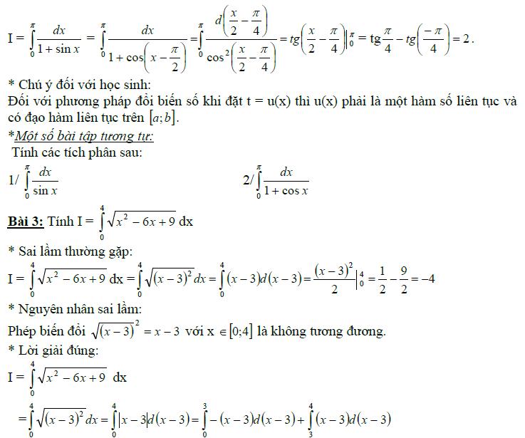 Sai lầm khi giải toán nguyên hàm và tích phân-14