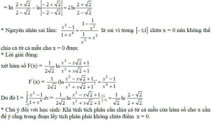Sai lầm khi giải toán nguyên hàm và tích phân-19