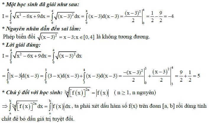 Sai lầm khi giải toán nguyên hàm và tích phân-3