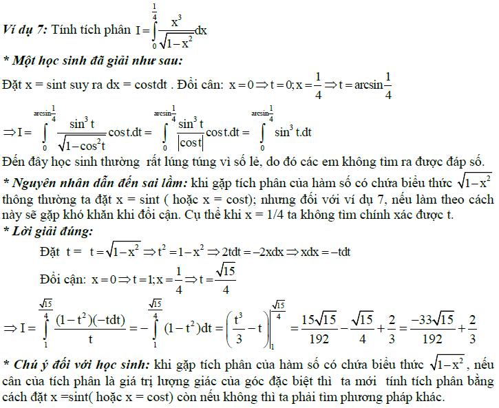 Sai lầm khi giải toán nguyên hàm và tích phân-6