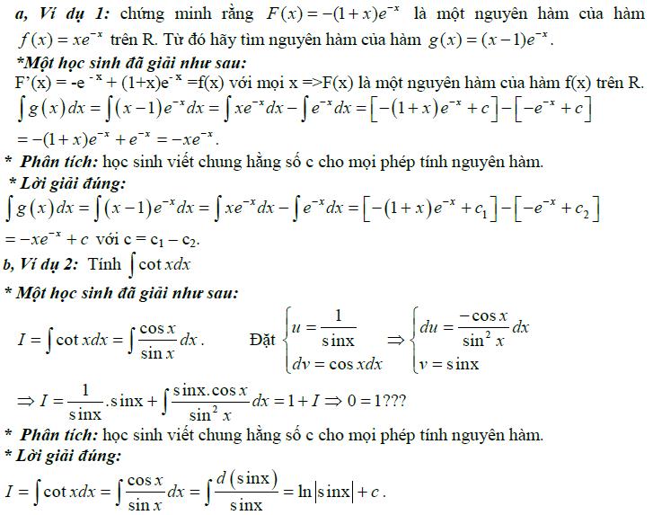 Sai lầm khi giải toán nguyên hàm và tích phân