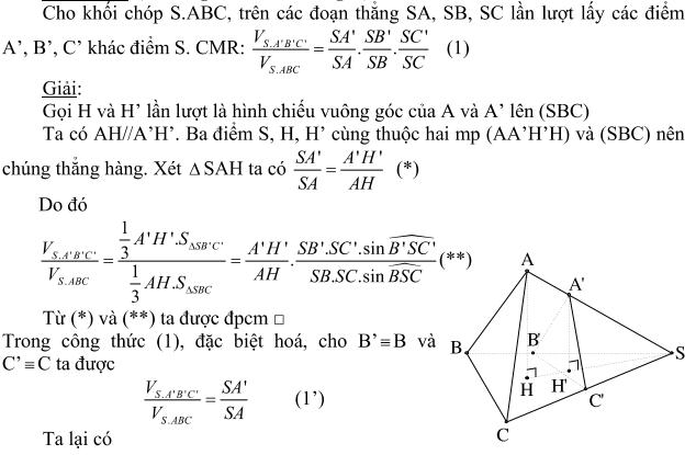 Ứng dụng tỉ số thể tích trong giải toán hình học không gian