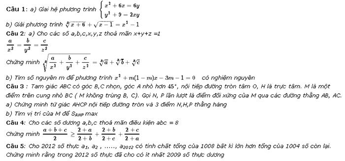 Đề thi vào lớp 10 trường chuyên Hà Tĩnh năm 2012