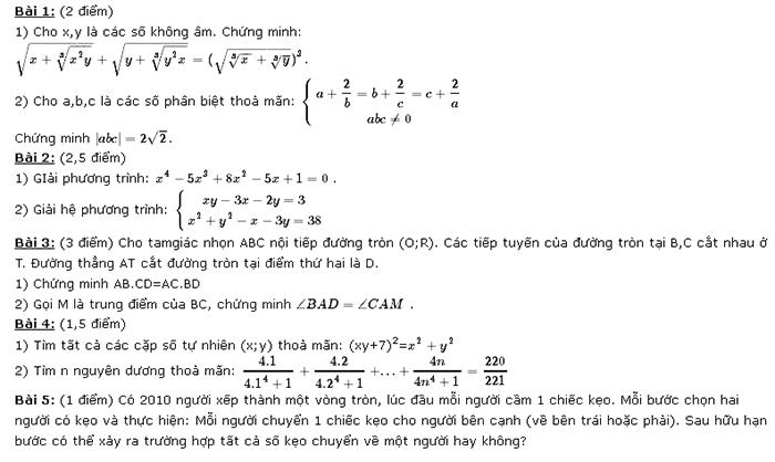 Đề thi vào lớp 10 trường Lê Hồng Phong - Nam Định năm 2012