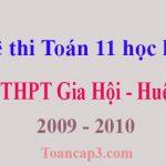 Đề thi Toán 11 học kì 1 THPT Gia Hội - Huế 2009 - 2010