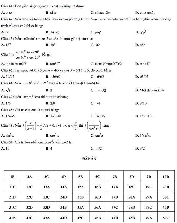 50 câu trắc nghiệm lượng giác lớp 10 có đáp án-5