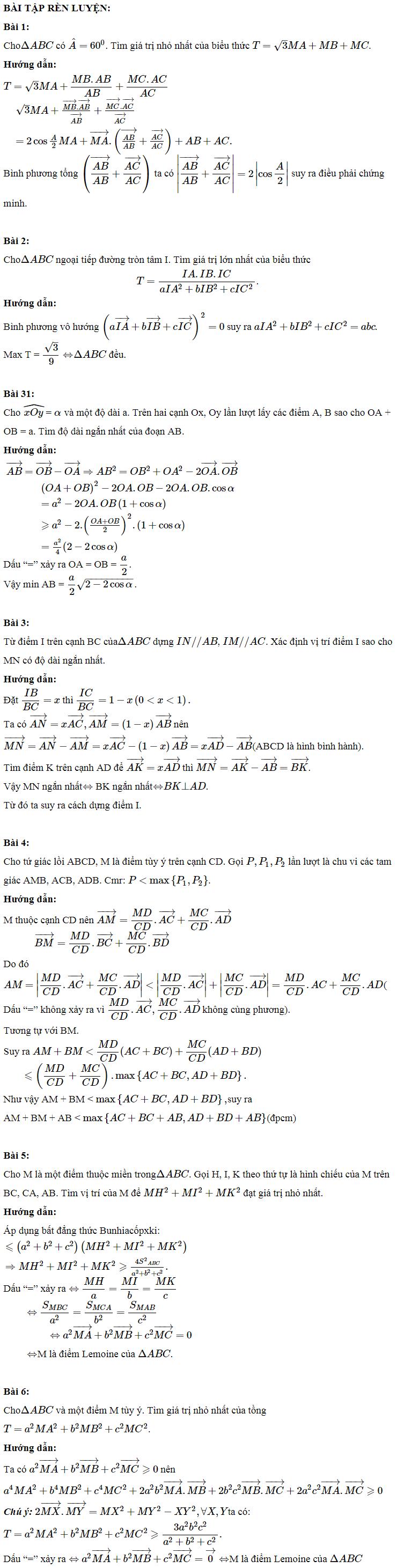 Các phương pháp giải bài toán cực trị hình học bằng vectơ-4