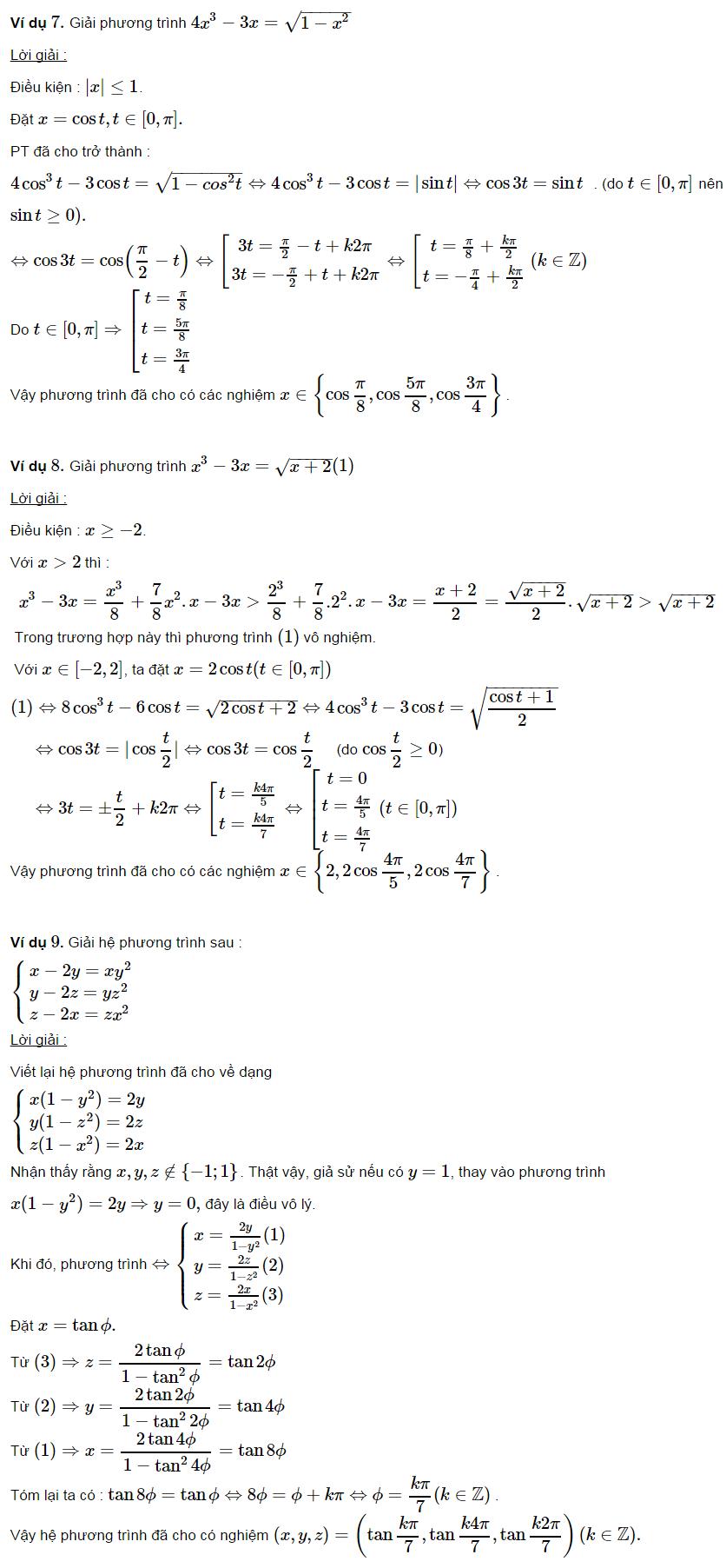 Các ví dụ ứng dụng lượng giác trong đại số-3