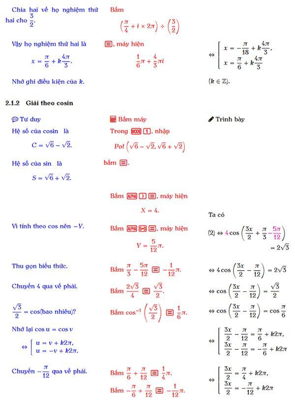 Giải phương trình bậc nhất đối với sin và cos bằng máy tính cầm tay-3