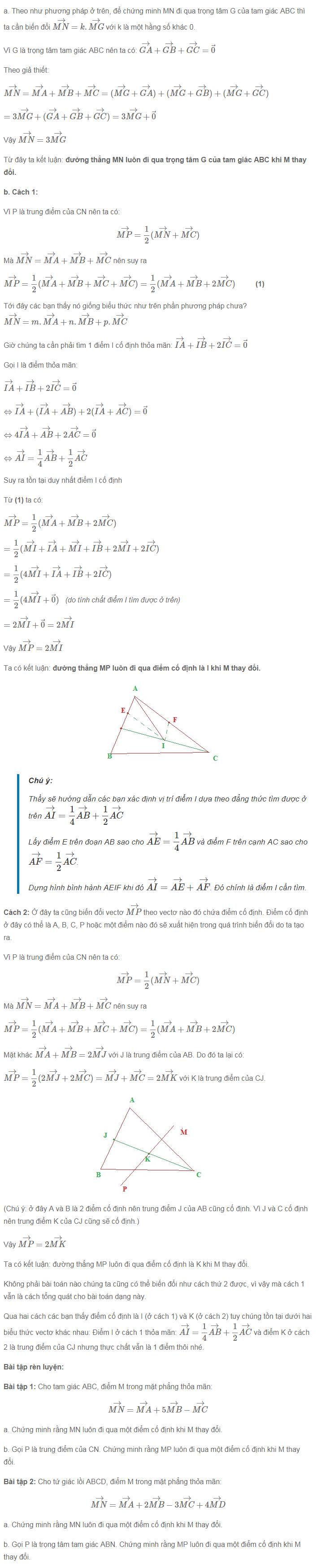 Cách chứng minh đường thẳng đi qua điểm cố định bằng vectơ-3