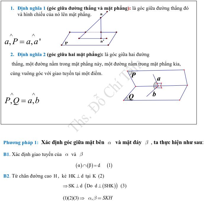 Phương pháp xác định và tính góc, khoảng cách trong hình học không gian