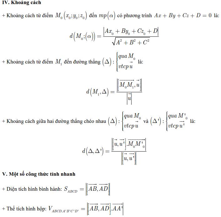 Tóm tắt lý thuyết hình học Tọa độ trong không gian-3